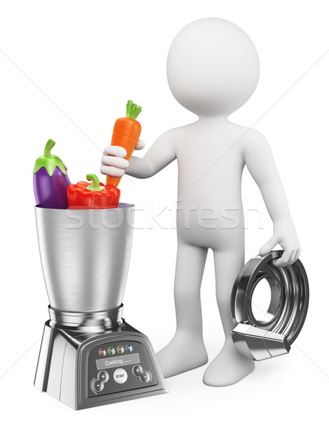 3D white people. Man cooking healthy in a food processor Stock photo © texelart
