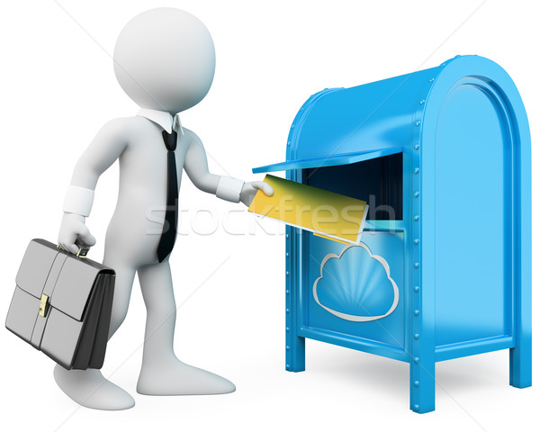 3D businessman sending documents to the cloud Stock photo © texelart