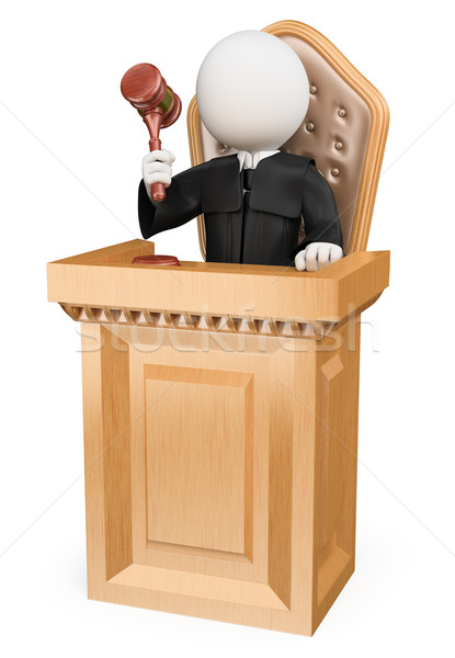 3D white people. Judge sentencing in court Stock photo © texelart