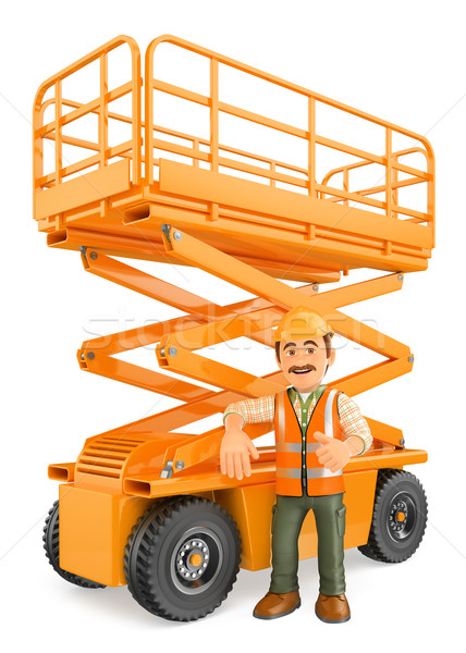 3D Construction worker with a scissor lift Stock photo © texelart