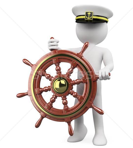 3D Captain sailing a wooden rudder Stock photo © texelart