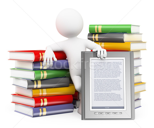 3D white people. Ebook reader concept Stock photo © texelart