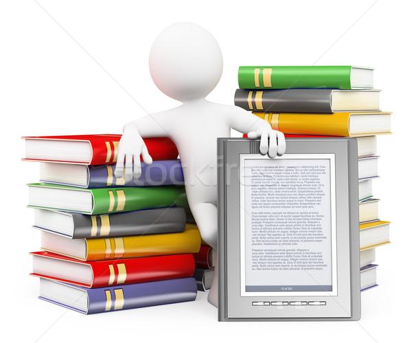 3D fehér emberek ekönyv olvasó férfi könyvek Stock fotó © texelart