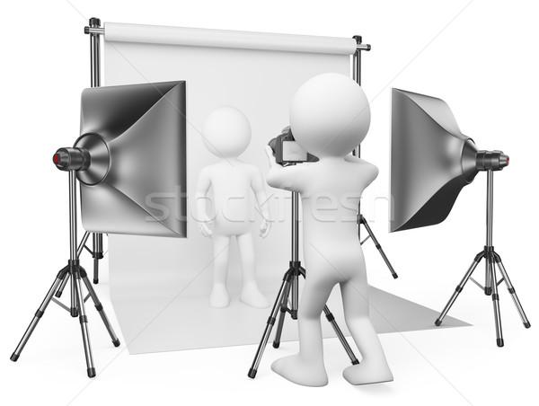 3D white people. Photographer studio Stock photo © texelart