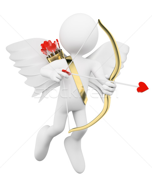 3D white people. Cupid shooting arrows of love Stock photo © texelart