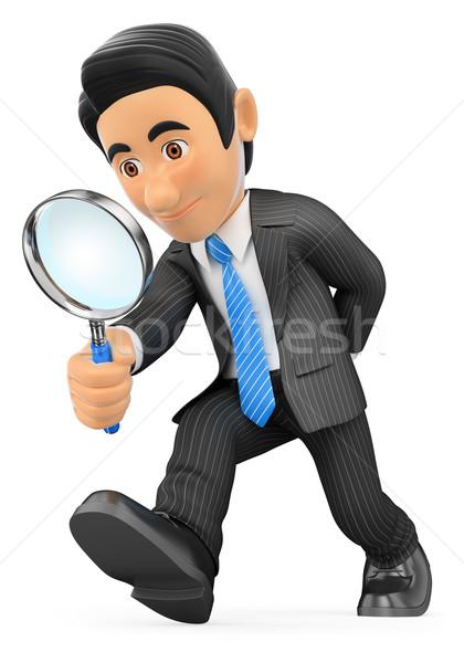 3D бизнесмен глядя увеличительное стекло деловые люди изолированный Сток-фото © texelart