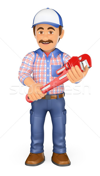 3D Plumber with a pipe wrench Stock photo © texelart
