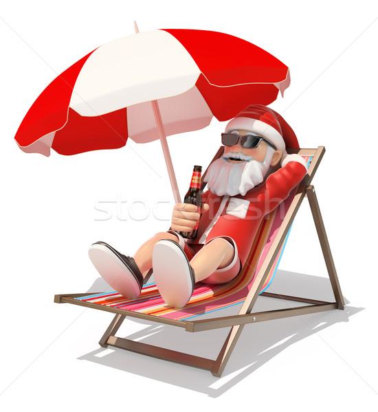3D kerstman zonnebaden strand christmas mensen Stockfoto © texelart