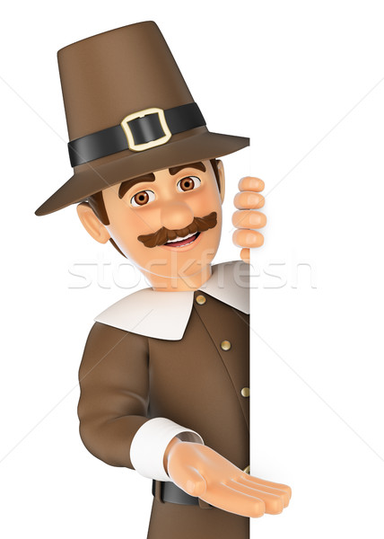 3D Thanksgiving man pointing aside. Blank space Stock photo © texelart