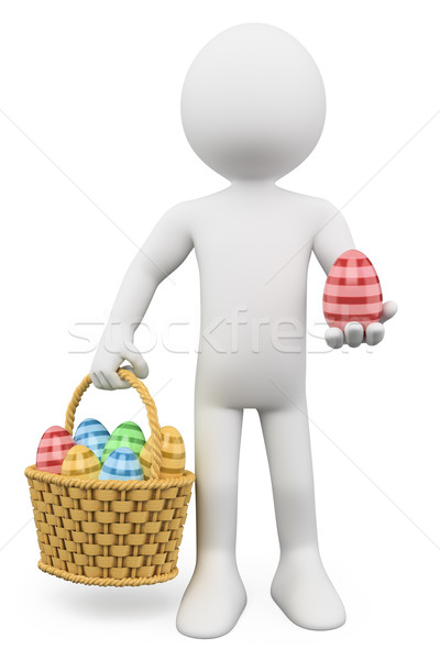 3D white people. Basket with easter eggs Stock photo © texelart