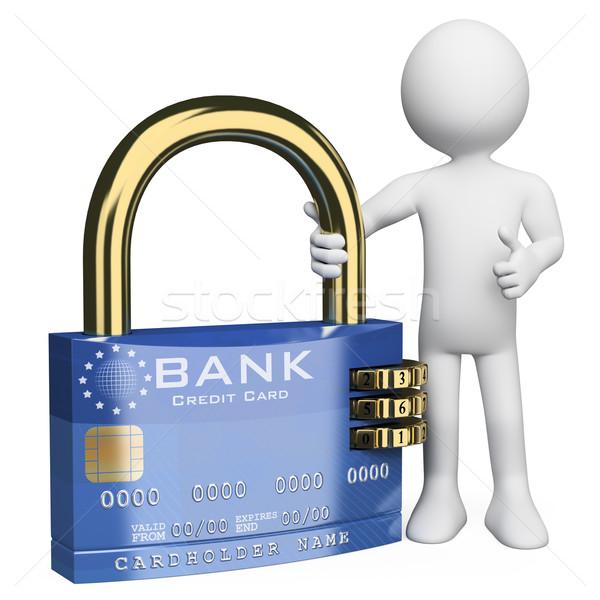 Foto stock: 3D · pessoas · brancas · proteger · cartão · de · crédito · branco · pessoa
