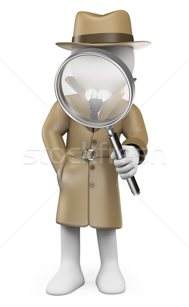 3D white people. Detective. Private Investigator Stock photo © texelart