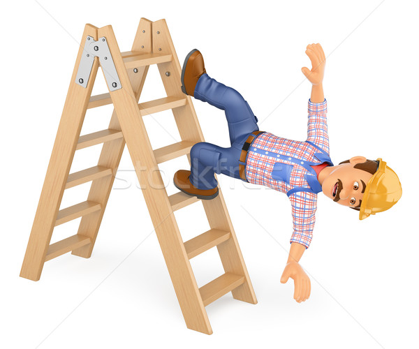 3D Electrician falling off a ladder. Work accident Stock photo © texelart
