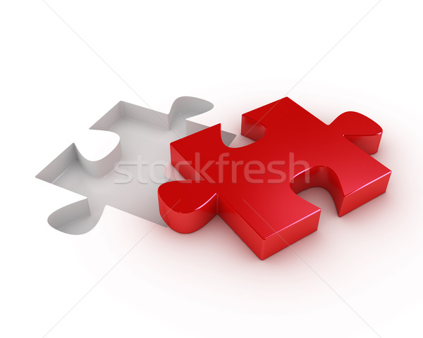 Red puzzle piece with a hole to fit it Stock photo © texelart