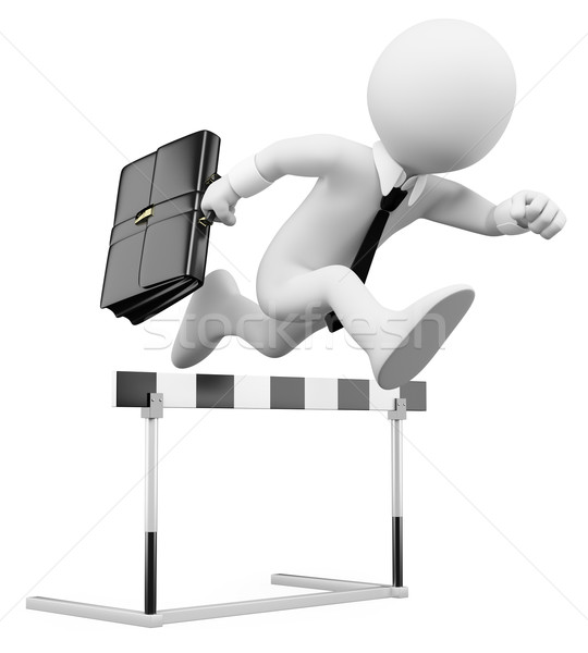 3D businessman white people. Hurdle race Stock photo © texelart