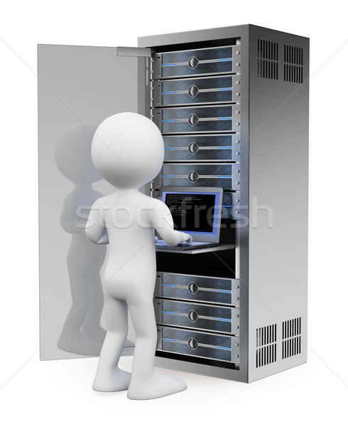 3D white people. Engineer in rack network server room Stock photo © texelart