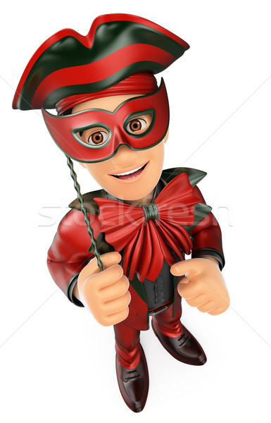 3D Man with a carnival costume mask and thumb up Stock photo © texelart