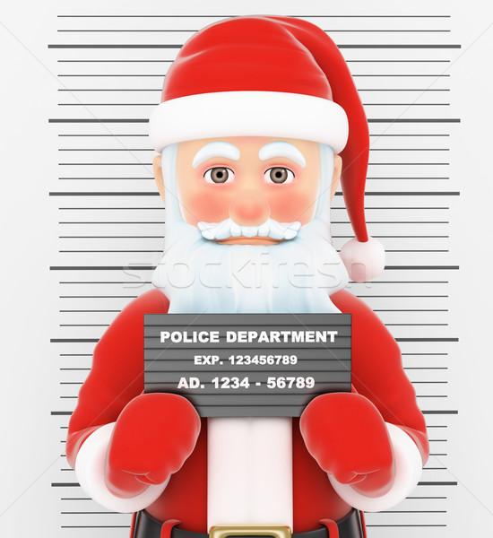 3D mikulás letartóztatva bűnöző rendőrség fotó Stock fotó © texelart