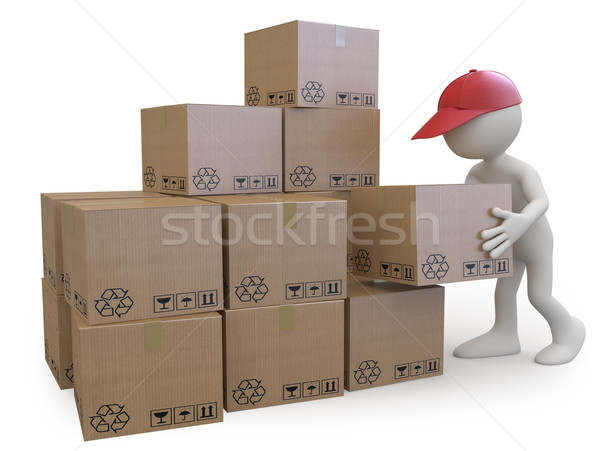 Stock boy stacking cardboard boxes Stock photo © texelart