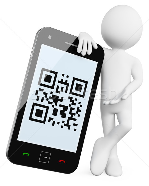 3D Man - Mobile QR codes Stock photo © texelart
