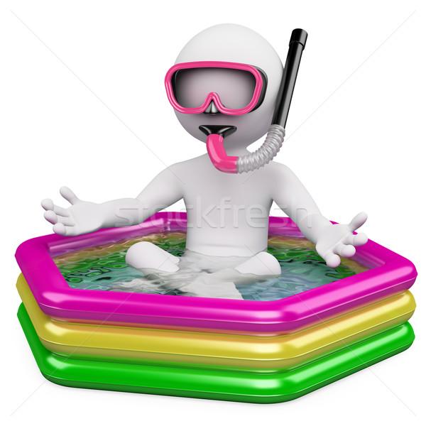 Zdjęcia stock: 3D · biali · ludzie · czeka · lata · wakacje · biały