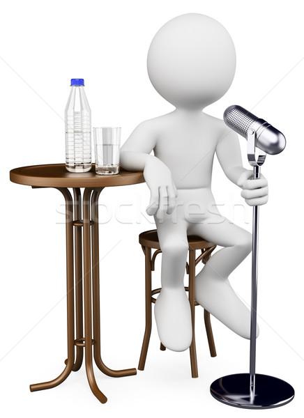 3D witte mensen witte persoon komiek Stockfoto © texelart