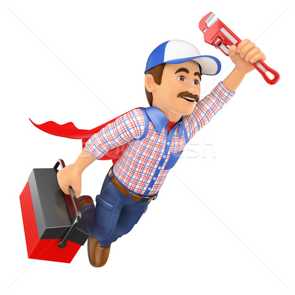 3D Super Plumber flying with toolbox and pipe wrench Stock photo © texelart