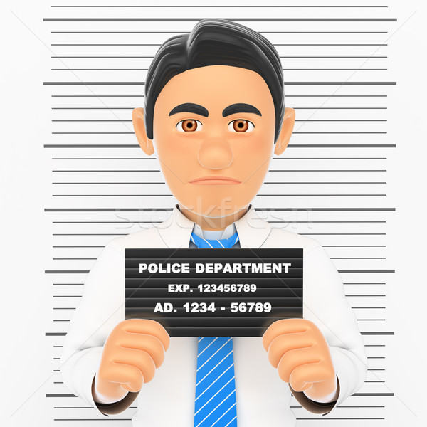 3D Businessman arrested. White collar criminal police photo Stock photo © texelart