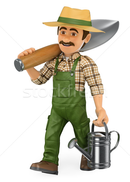 3D Gardener walking with a huge shovel and a watering can Stock photo © texelart
