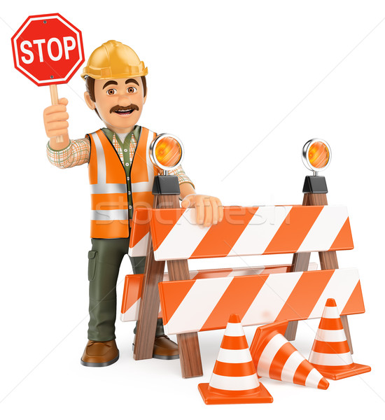 3D Worker with stop sign. Under construction Stock photo © texelart
