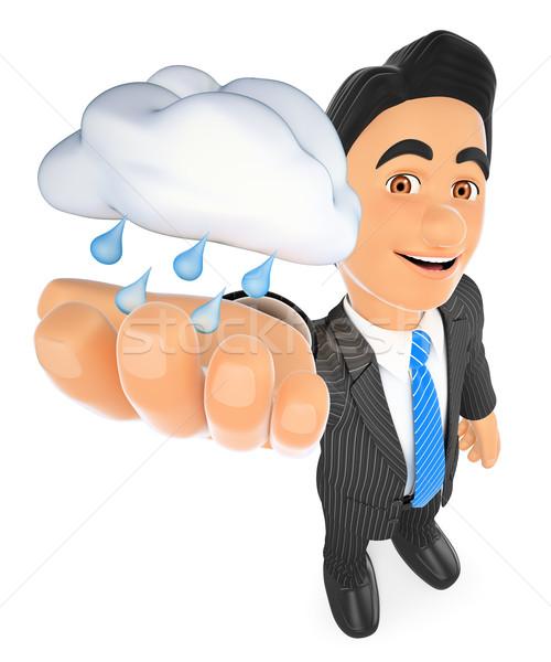 3D időjárás férfi felhő eső esős Stock fotó © texelart