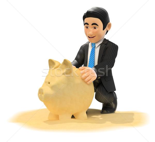 3D бизнесмен Piggy Bank песчаный пляж Сток-фото © texelart