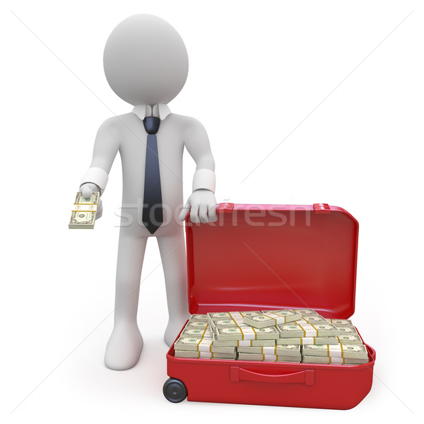 Businessman with a suitcase full of wads of cash Stock photo © texelart