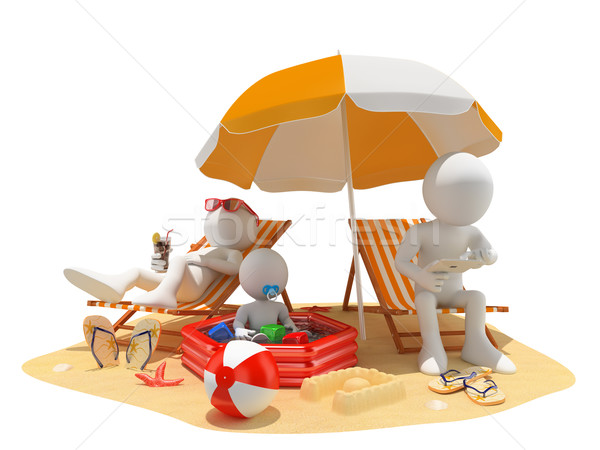 Stock photo: 3D white people. Family at the beach