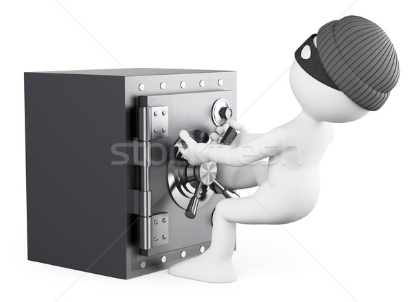 Stock photo: 3D white people. Robber stealing a safe