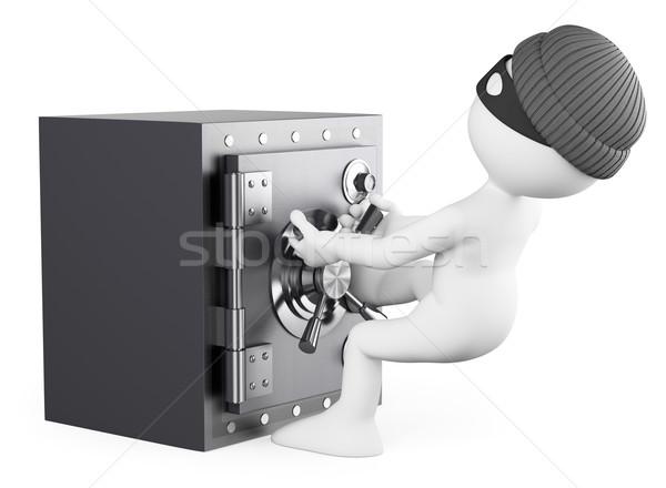 3D beyaz insanlar soyguncu güvenli yalıtılmış Stok fotoğraf © texelart