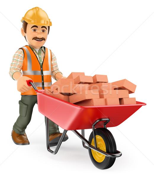3D Construction worker with a wheelbarrow full of bricks Stock photo © texelart
