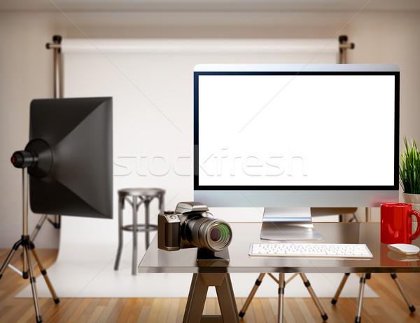3D Photography studio with blank screen. Mockup Stock photo © texelart