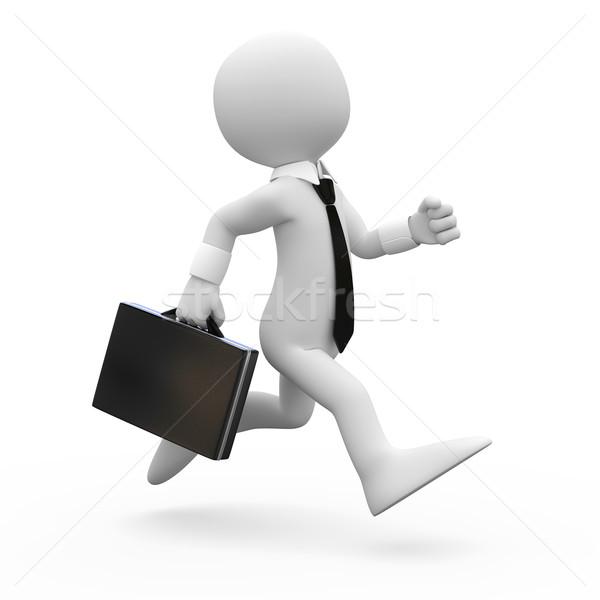 Adam çalışma evrak çantası el render yüksek Stok fotoğraf © texelart