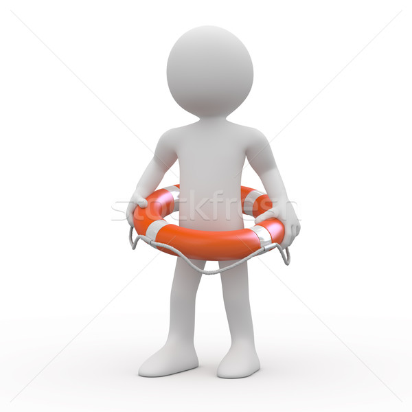 Stock photo: Man with an orange life preserver at the waist