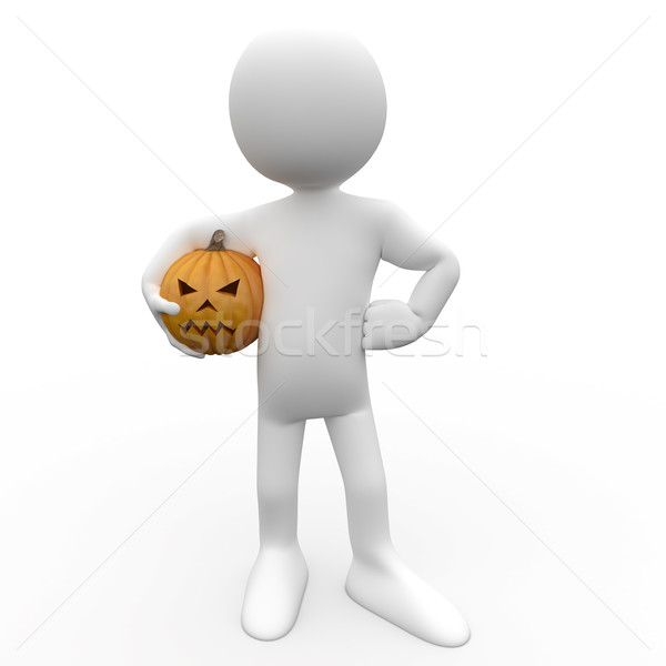 Stock photo: 3D human with a pumpkin under his arm caught