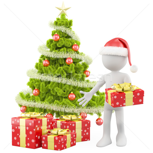 Stock photo: Santa Claus with a Christmas tree and some red Christmas gifts