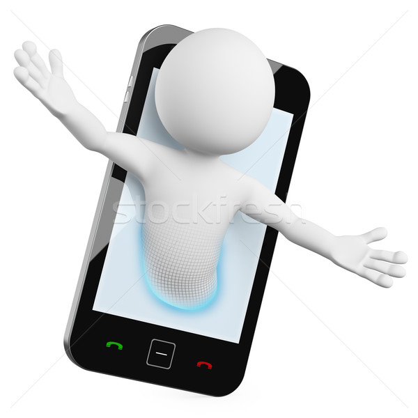 3D Man - Mobile video call Stock photo © texelart