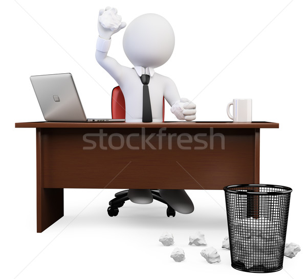3D white people. Tossing crumbled Paper ball at trash can Stock photo © texelart