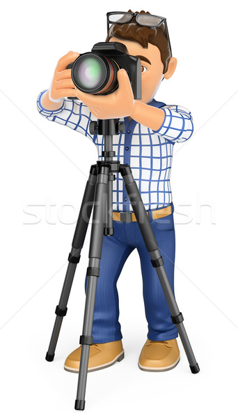 Stock photo: 3D Photographer with camera and tripod taking a picture