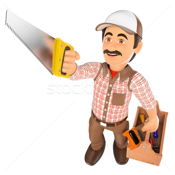 3D Carpenter with saw and toolbox Stock photo © texelart