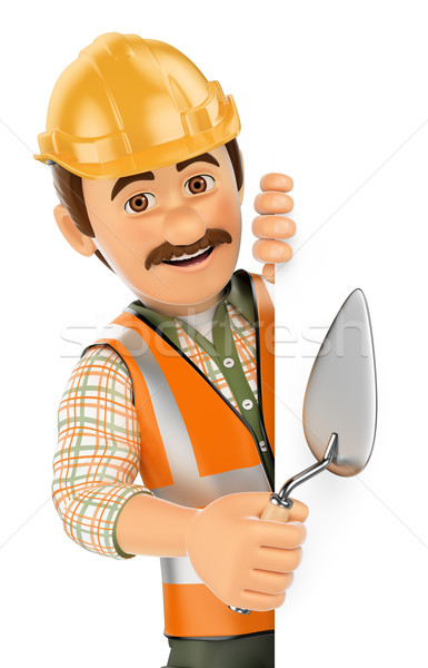 3D Construction worker with trowel pointing aside. Blank space Stock photo © texelart