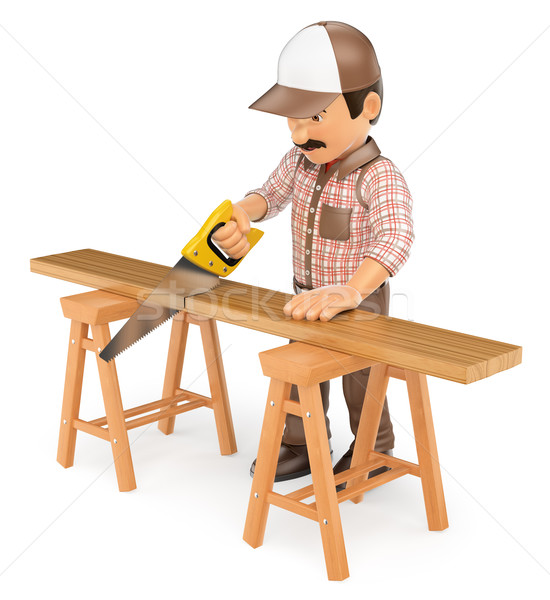 3D carpinteiro serra trabalhando Foto stock © texelart