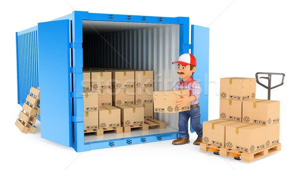 3D Worker loading or unloading a container Stock photo © texelart
