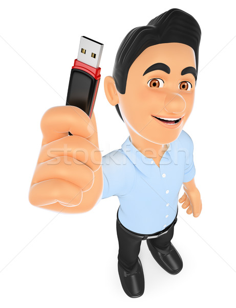 3D Information technology technician with a usb memory stick Stock photo © texelart